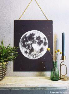 Wandbild, malen, Mond, Aye Aye DIY