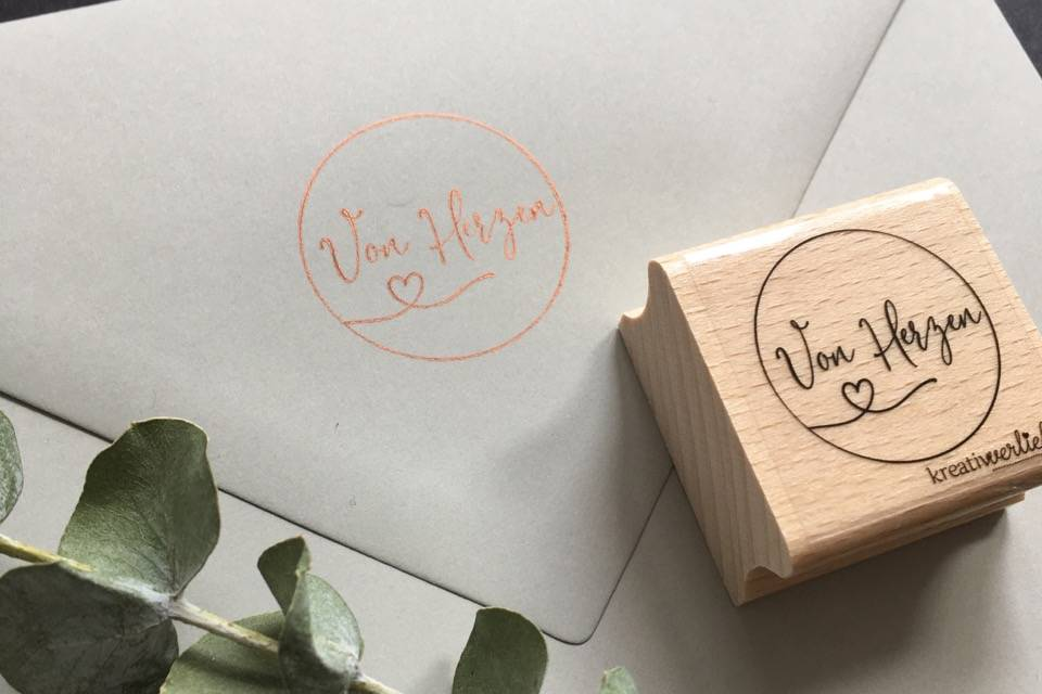 kreativverliebt, Stempel, handgemacht, Papeterie, Hochzeitsstempel, von Herzen