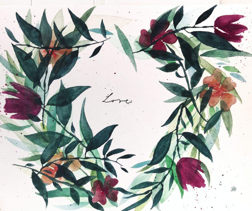 Letter(j)ette Aquarell Zeichnungen Pflanzen