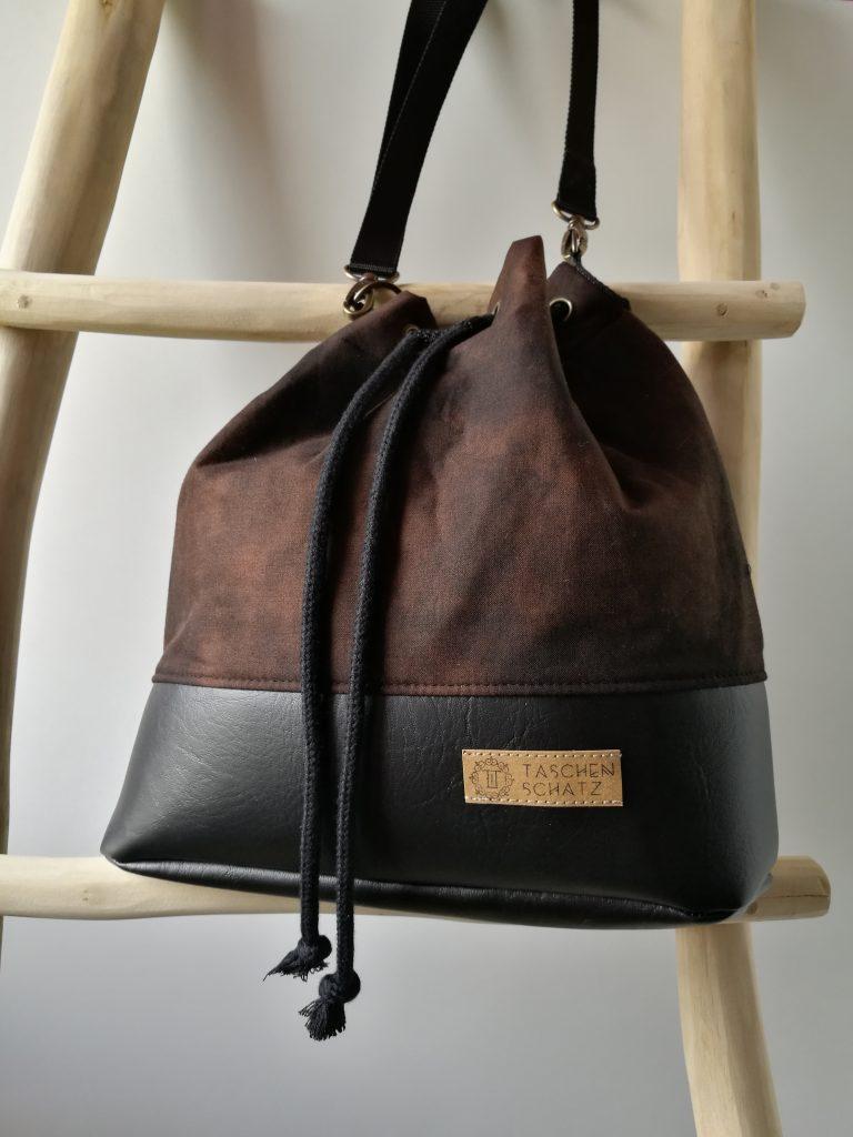 Taschenschatz Hobobag dunkelbraun handgenäht