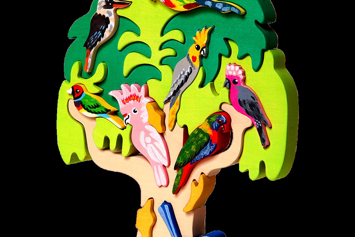 Fauna Speelgoed-Holzspielzeug-Holzpuzzle-Steckpuzzle
