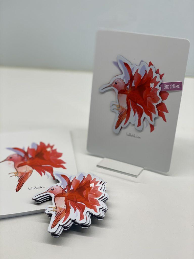 Lütteblüten-Lüttetier-Kaktuskolibri-Illustration