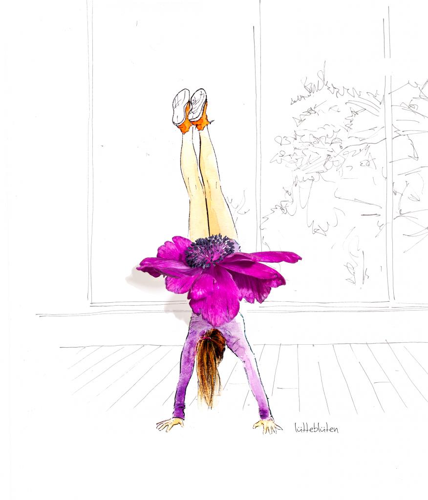 Lütteblüten-Sonntagsmädchen-Yoga-Illustration