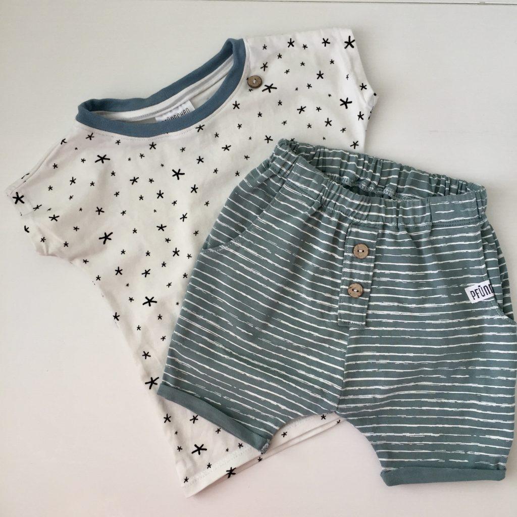 Pfündchen Lieblingsstücke-handgenäht-T-Shirt-Babyshorts