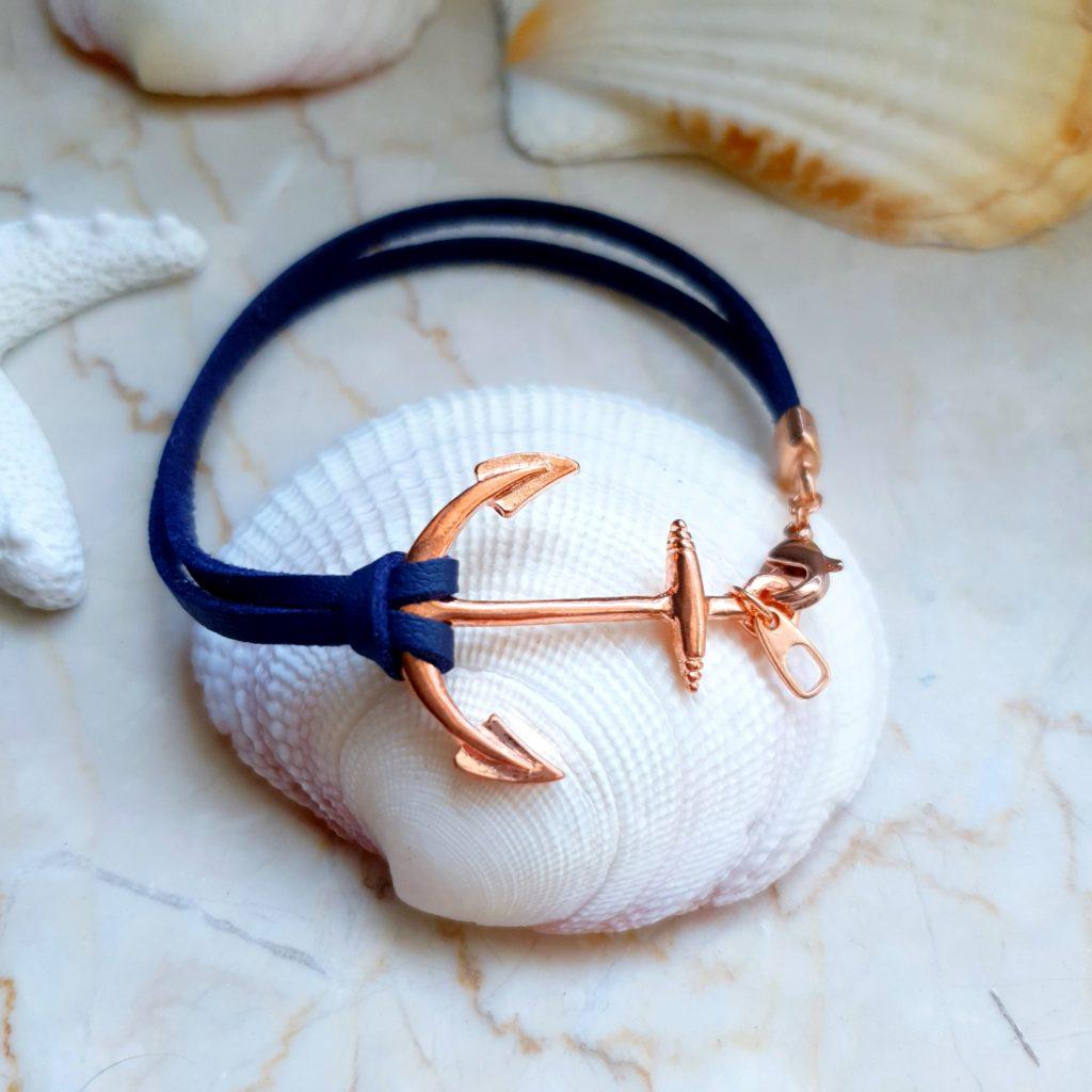 Kirschrot-Schmuckdesign-Armband-Anker-Rosegold