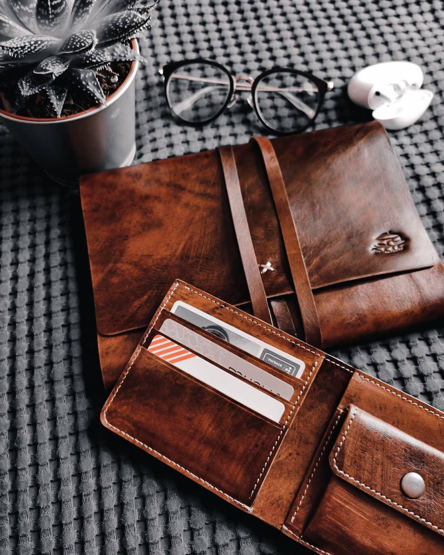 Jurtenleder-Laptoptasche-Geldbörse